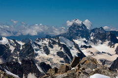 Ushba mount. Central Kavkaz, Russian mountains system royalty free stock photo