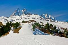 Ushba mountain, hike to Koruldi lakes, Upper Svaneti, Caucasus m Royalty Free Stock Photography