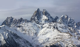 Ushba mountain in its beauty. Panoramic view on Ushba in clear weather in winter Royalty Free Stock Photos
