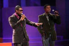 Usher, Babyface, Babyface Edmonds, Kenneth. Usher and Kenneth Babyface Edmonds during the World Music Awards Show. Kodak Theatre, Hollywood, CA. 08-31-05 Stock Photography