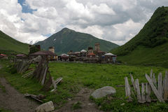 Ushguli村庄在Svaneti,乔治亚 免版税库存照片