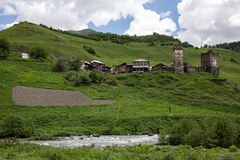 Ushguli村庄在Svaneti,乔治亚 免版税图库摄影