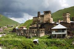 Ushguli村庄在Svaneti,乔治亚 图库摄影
