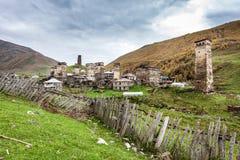 Ushguli村庄在Swanetia。乔治亚 图库摄影