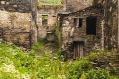 Ushguli被放弃的房子,佐治亚 图库摄影