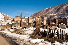Ushguli - comunidad de cuatro pueblos - Svaneti superior, el Cáucaso m Imagen de archivo libre de regalías