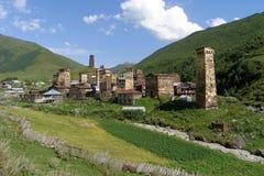 Ushguli, el pueblo de montaña más alto de Europa, Svaneti, Georgia imágenes de archivo libres de regalías