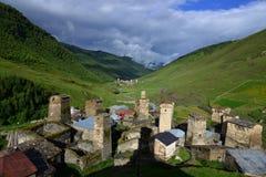 Ushguli,  Georgia. Towers in Ushguli, Upper Svaneti, Georgia Royalty Free Stock Image