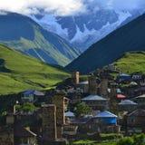 Ushguli,  Georgia. Village of Ushguli. Svanetiya - the mountain area. UNESCO World Heritage Sites Royalty Free Stock Images