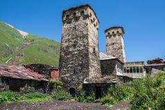 Ushguli in Georgia. Zhibiani - one of four villages community called Ushguli in Upper Svanetia region, Georgia Stock Images