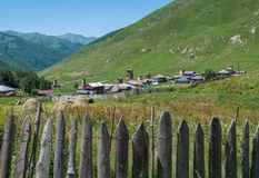Ushguli in Georgia. Zhibiani - one of four villages community called Ushguli in Upper Svanetia region, Georgia Stock Photos