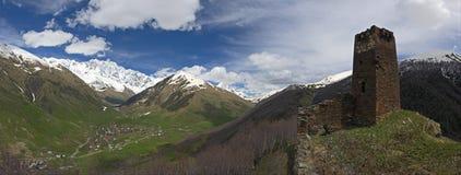 Ushguli Panorama, June 2011 Stock Photo