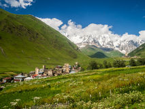 Ushguli. A settlement that consists of four small villages in Upper Svaneti, Georgia.  is famous of its well preserved medieval defensive towers called koshki Stock Image