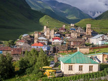Ushguli. A settlement that consists of four small villages in Upper Svaneti, Georgia.  is famous of its well preserved medieval defensive towers called koshki Royalty Free Stock Photo