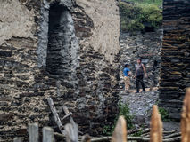 Ushguli. A settlement that consists of four small villages in Upper Svaneti, Georgia.  is famous of its well preserved medieval defensive towers called koshki Royalty Free Stock Image