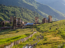 Ushguli. A settlement that consists of four small villages in Upper Svaneti, Georgia.  is famous of its well preserved medieval defensive towers called koshki Stock Photos