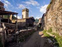 Ushguli. A settlement that consists of four small villages in Upper Svaneti, Georgia.  is famous of its well preserved medieval defensive towers called koshki Royalty Free Stock Photos
