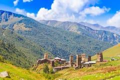 Ushguli, Upper Svaneti, Georgia, Europe. Ushguli, Upper Svaneti in Georgia, Europe. Caucasus mountains Stock Images