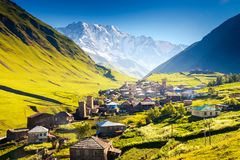 Ushguli. That consists of four small villages located at the foot of Mt. Shkhara and Enguri gorge. Upper Svaneti, Georgia, Europe. Caucasus mountains. Beauty Stock Photos