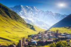 Ushguli. That consists of four small villages located at the foot of Mt. Shkhara and Enguri gorge. Upper Svaneti, Georgia, Europe. Caucasus mountains. Beauty Royalty Free Stock Photos
