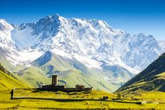 Ushguli. That consists of four small villages located at the foot of Mt. Shkhara and Enguri gorge. Upper Svaneti, Georgia, Europe. Caucasus mountains. Beauty Stock Photo