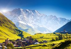 Ushguli. That consists of four small villages located at the foot of Mt. Shkhara and Enguri gorge. Upper Svaneti, Georgia, Europe. Caucasus mountains. Beauty Stock Image
