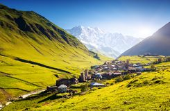 Ushguli. That consists of four small villages located at the foot of Mt. Shkhara and Enguri gorge. Upper Svaneti, Georgia, Europe. Caucasus mountains. Beauty Stock Photography
