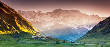 Ushguli. That consists of four small villages located at the foot of Mt. Shkhara and Enguri gorge. Upper Svaneti, Georgia, Europe. Caucasus mountains. Beauty Royalty Free Stock Image