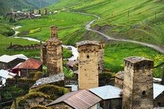 Ushguli village and ancient towers Royalty Free Stock Photo