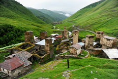 Ushguli village and ancient towers Royalty Free Stock Image