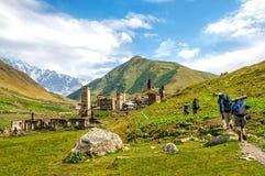 Ushguli village  the upper Svaneti region in Georgia Royalty Free Stock Photos