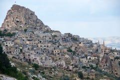 Ushisar castle in Cappadocia Stock Photo