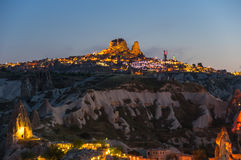 Ushisar castle in the night Royalty Free Stock Photography