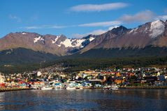Ushuaia και το κανάλι λαγωνικών, Γη του Πυρός, Αργεντινή στοκ εικόνες με δικαίωμα ελεύθερης χρήσης