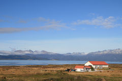 Ushuaia. Typical house near the Beagle Channel in Ushuaia, Tierra del Fuego, Argentina royalty free stock photography