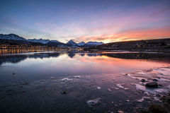 Ushuaia, Argentina. Beautiful colors at a wintry dawn. Ushuaia Argentina. The southernmost city of the World royalty free stock images