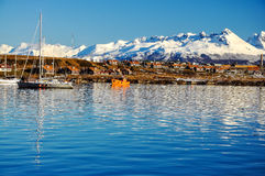 Ushuaia from the Beagle Channel. A view of Ushuaia and mountains seen from the Beagle Channel Royalty Free Stock Photos