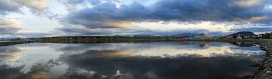 Ushuaia-Bucht-Panorama, Tierra del Fuego, Argentinien Stockbilder