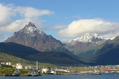 Ushuaia city. Mount olivia and mount five sisters in ushuaia argentina Royalty Free Stock Photos