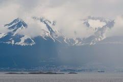Ushuaia dans le brouillard, Argentine Photographie stock libre de droits