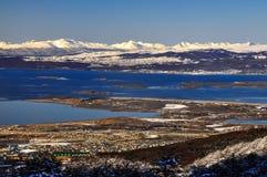 Ushuaia e a canaleta do lebreiro fotos de stock royalty free