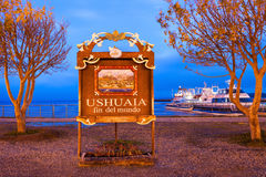 Ushuaia Fin Del Mundo. (End Of The World) sign. Ushuaia is the capital of Tierra del Fuego province in Argentina stock photo