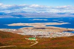 Ushuaia från den krigs- glaciären Fotografering för Bildbyråer