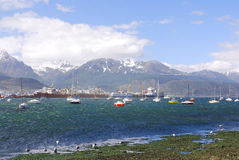 Ushuaia harbor. USHUAIA PATAGONIA ARGENTINA NOV. 27: Ushuaia harbor. It is commonly regarded as the southernmost city in the world on november 27 2011 in Ushuaia Stock Images