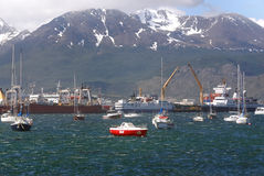 Ushuaia harbor. USHUAIA-ARGENTINA NOV. 27: Ushuaia harbor. It is commonly regarded as the southernmost city in the world on november 27 2011 in Ushuaia Argentina Stock Image