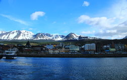 Ushuaia from the harbor. Ushuaia is the capital of Tierra del Fuego, Antártida e Islas del Atlántico Sur Province, Argentina. It is commonly regarded as the Royalty Free Stock Photography