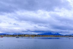 Ushuaia harbour bay. View of the harbour / bay in downtown Ushuaia royalty free stock photos