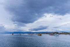 Ushuaia harbour bay. View of the harbour / bay in downtown Ushuaia stock photos