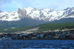 Ushuaia and its mountain backdrop from the Beagle Channel Royalty Free Stock Photos