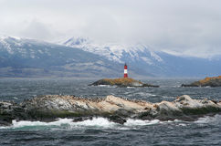 Ushuaia lighthouse. Called the world ends lighthouse, sorrounded by islands full of cormorant birds Stock Photography